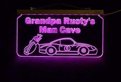 Personalized Man Cave Sign, Bar Sign, Custom LED Sign, Golf Clubs, Race Car image 6