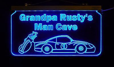 Personalized Man Cave Sign, Bar Sign, Custom LED Sign, Golf Clubs, Race Car image 7