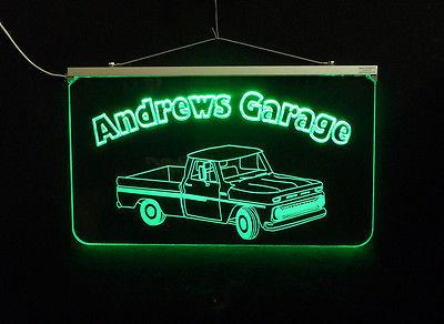 Vintage Truck Garage, Man Cave, LED Acrylic Sign, Custom LED Sign image 3