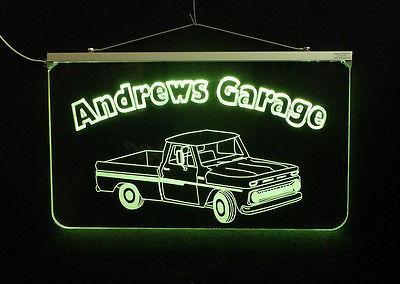 Vintage Truck Garage, Man Cave, LED Acrylic Sign, Custom LED Sign image 4