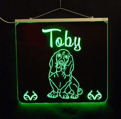 Basset Hound Personalized LED Sign - Man Cave, Kids, Dog, Animal image 1