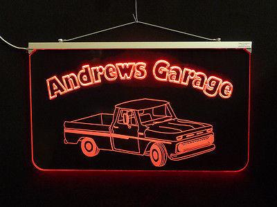 Vintage Truck Garage, Man Cave, LED Acrylic Sign, Custom LED Sign image 6