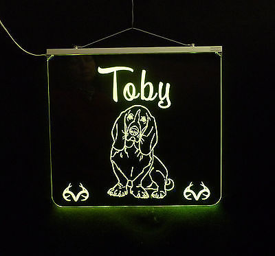 Basset Hound Personalized LED Sign - Man Cave, Kids, Dog, Animal image 4