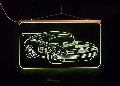 Personalized LED Sign, Garage Sign, Race Car Sign, Man Cave Sign, Custom LED