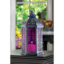 Moroccan Style Candle Lantern Pewter Finish w/ Pinkish Purple Stained Glass - $27.95