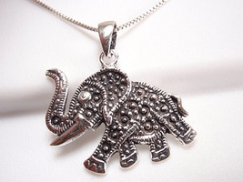 Elephant w/ Rope Style Outline Pendant 925 Sterling Silver Corona Sun Jewelry - $7.91