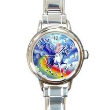 Ladies Round Italian Charm Watch Flying Unicorn Rainbow Gift model 30332401 - $11.99