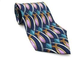 STONEHENGE Men's New 100% Silk Tie Blue Lavende... - $20.34