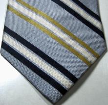 Tommy Hilfiger Rich Navy Blue Gold White Stripe Tie 100% Silk  - $99.99