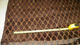 Brown Gold Red Print Soft Chenille Upholstery Fabric Remnant 1 Yard  R257 - $49.95