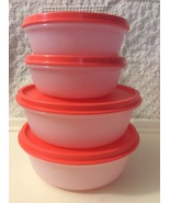 New Tupperware Modular Mates 4  Bowls w Lids (1 1/2 & 2 1/2 C.) White/ Orange  - $27.00