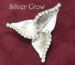 Clear Rhinestone and Silver Tone Triple Leaf Pin Brooch - $15.99