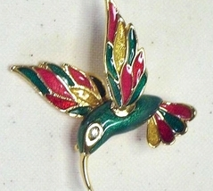 Vintage Red, Green & Yellow Enamel Gold Tone Hummingbird Pin - $14.99