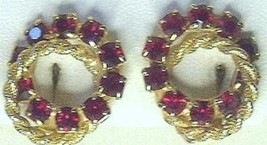 Vintage Red Rhinestone & Gold Tone Entwined Circle Earrings - $14.99