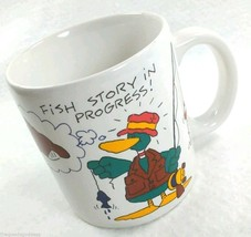 DUCK Coffee Mug Fish Story In Progress 1987 cartoon fishing American Gre... - $13.32
