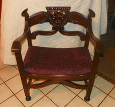 Carved Walnut Old Man of the North Chair Armchair  (AC80) - $699.00