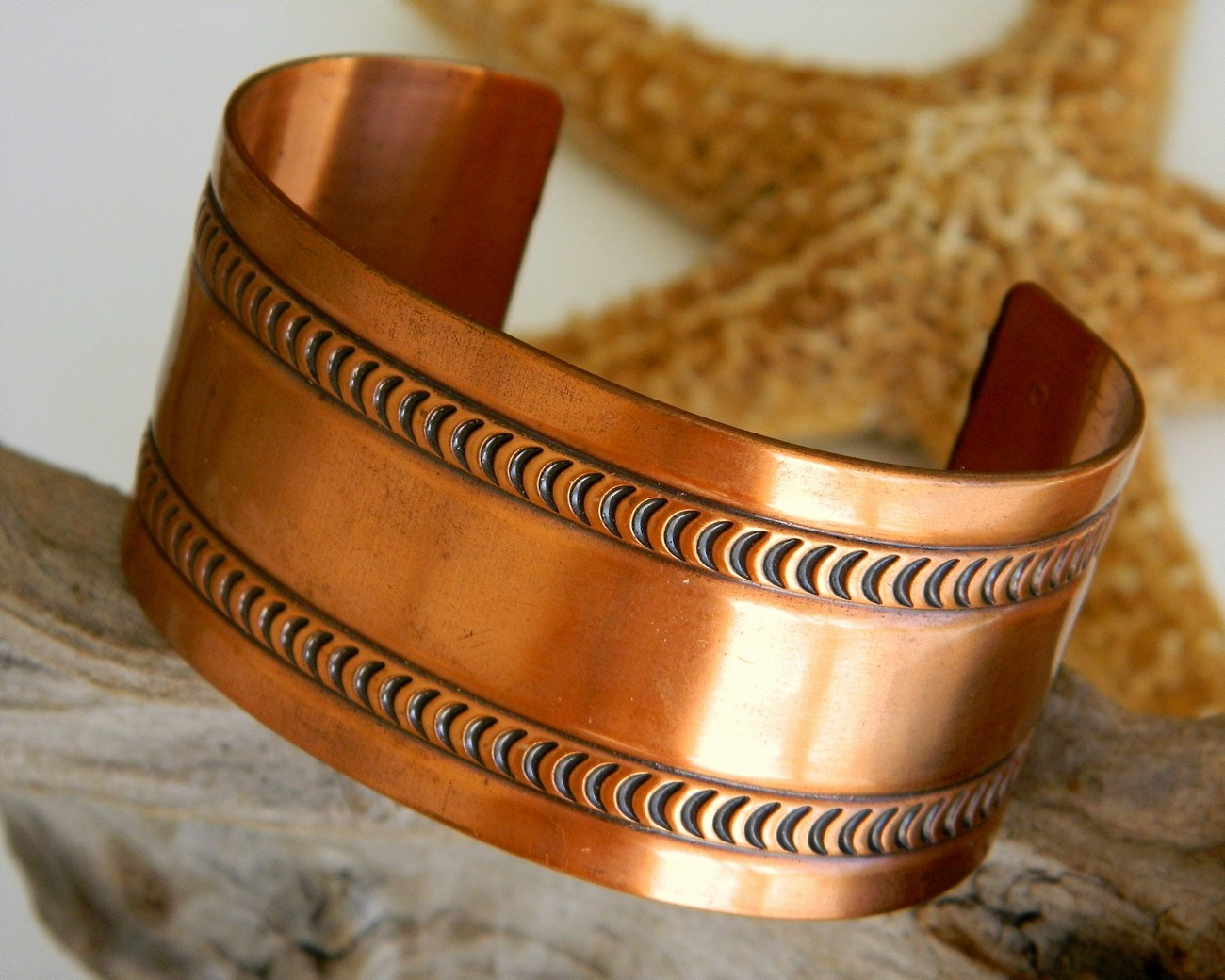 Vintage wide solid copper cuff bracelet embossed crescent moon design