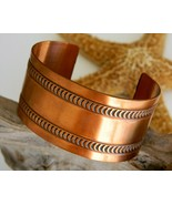 Vintage Wide Solid Copper Cuff Bracelet Embossed Moon Design - $24.95