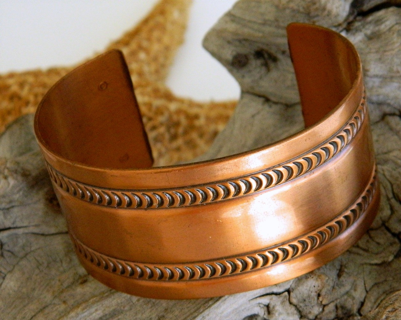 Vintage Wide Solid Copper Cuff Bracelet Embossed Moon Design Southwest
