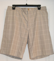 Alan Flusser Golf Shorts 34 Flat Front Brown Plaid - $12.38