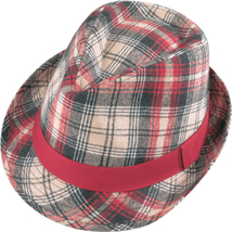Henschel Fedora Wool Blend Plaid Solid Color Band Blue and Gray Red and ... - $49.00