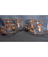 Set of 4 Hand Painted Glass Expresso Mugs~ Stunning - $30.00
