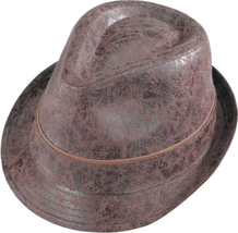 Henschel Faux Leather Stingy Brim Fedora Crushable Weathered Look Brown - $50.00