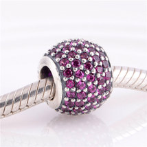 Authentic 925 Sterling Silver Charms Rose Pink CZ Pave Charm Fits Charm ... - £15.20 GBP