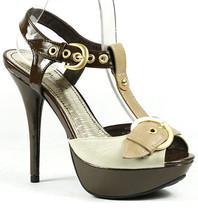 Beige Brown Faux Leather Buckle Ankle Strap Peep Toe High Heel Platform Sandal - $9.99