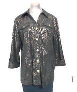 JM Collection Black Gold Animal Print Over Blouse Jacket size M 3/4  Sle... - $18.20