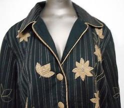 Norm Thompson Black Beige  Applique Cotton Jacket  size L - $15.17