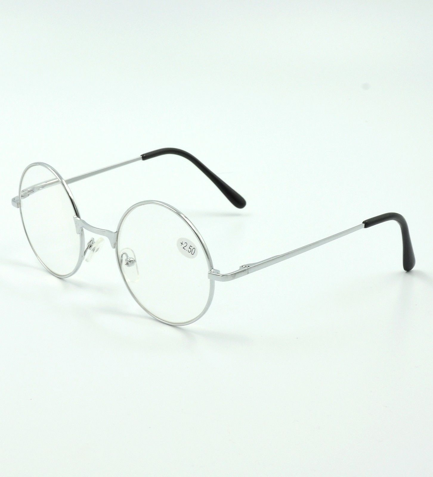 Primary image for Vintage Round Silver Metal Reading Glasses Retro Readers John Lennon +1.00~+4.00
