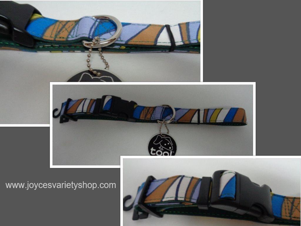 Dog collar multicolor blue collage