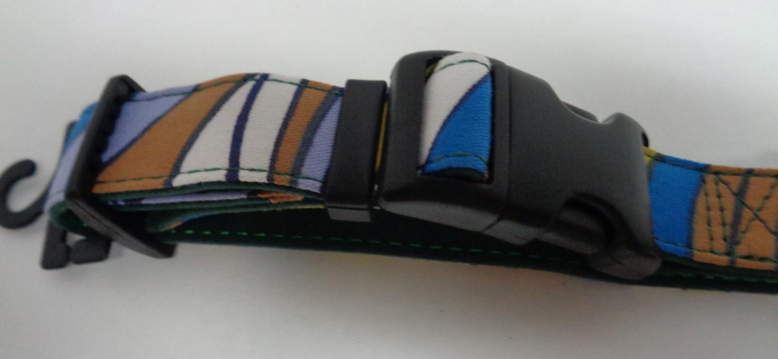 "Large Breed Fancy Dog Collar NWT Adjustable 24"" Multicolor Blue"