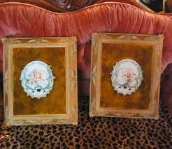 2 Antique Framed Capodimonte plaques Porcelain Velvet padded Victorian Bisque Mo - $245.00