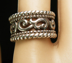 WIDE Ring Wedding Art Nouveau Ring sterling silver Promise flower ring B... - $125.00