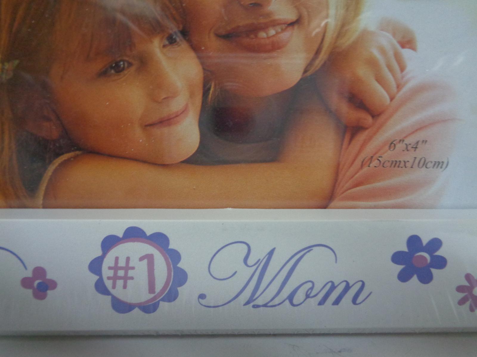"#1 MOM Photo Frame NIB White 6"" x 4"" Photo Picture"