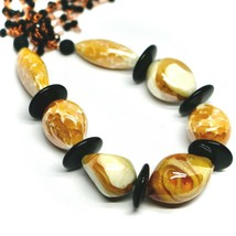 """ROSE NECKLACE BLACK, ORANGE SPOTTED DROP OVAL MURANO GLASS 45cm 18"""" ITALY MADE image 2"""