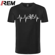 REM Funny Mountain Bikes MTB Cycle Heartbeat T-shirt For Men Plus Size Cotton Te - $28.01