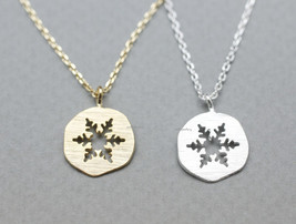 Lovely Cutout Snowflake Medal Pendant Necklace In 2 Colors - $11.50