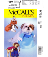 McCall's 7211 Dog Clothes FROZEN ANNA ELSA OLAF Costume Pattern S-XL  - $12.99