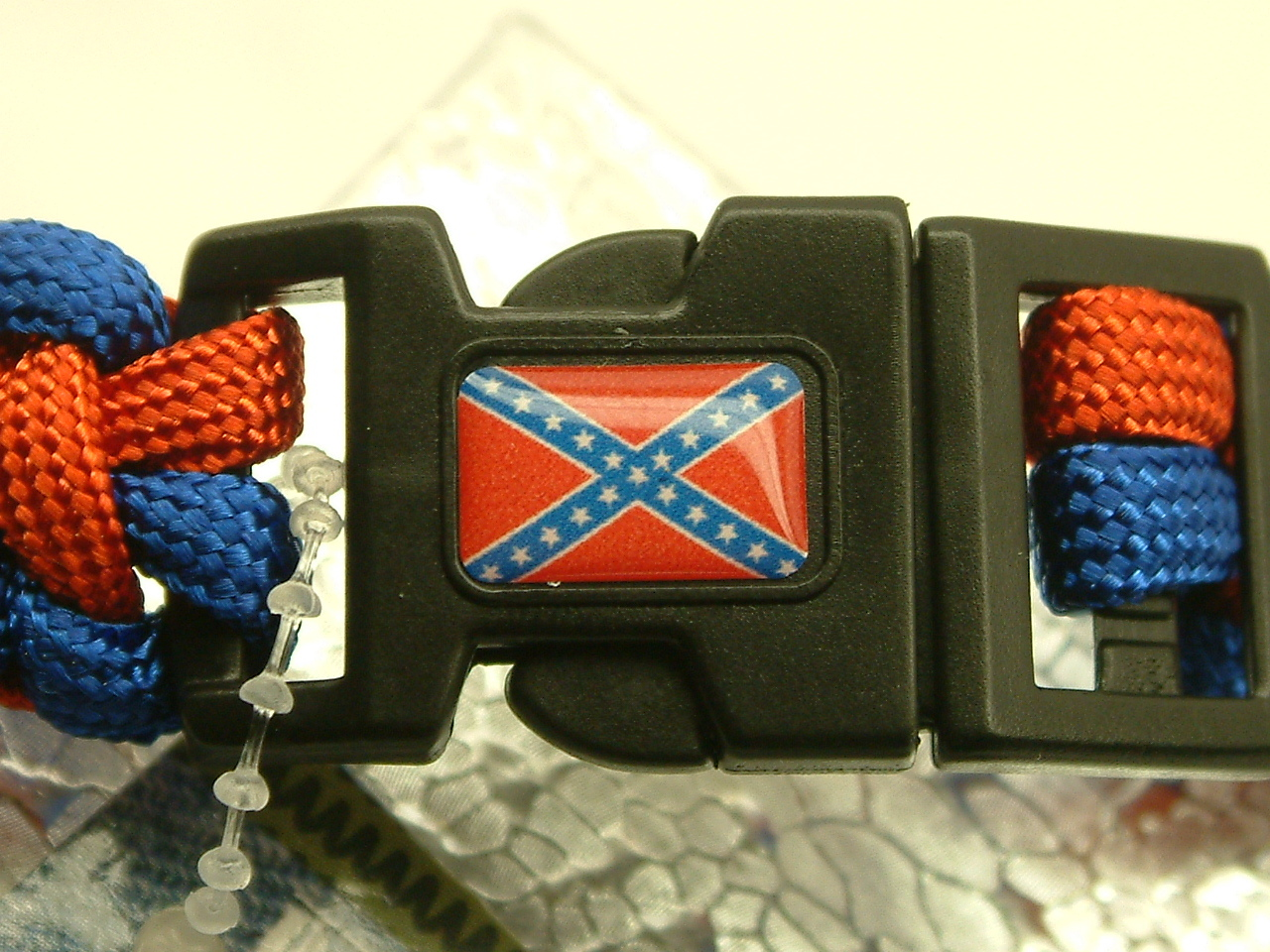 Para Cord 550 'BLUE & RED'  Bracelet with Confederate Flag