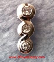 18k w. gold layer Solid Silver Brilliance three Round Bezel set CZ Penda... - $14.68