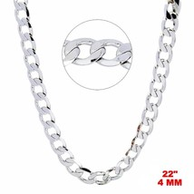 New Italian 14k White gold Rhodium on 925 Sterling Silver Curb Chain- 4 ... - $26.94