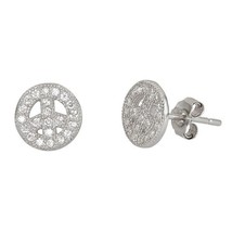 Peace Sign Micro Pave CZ 925 Sterling Silver Earrings nice piece for wom... - $13.95