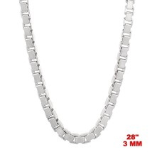 Italy 14k white gold layered over Solid 925 sterling silver Box Chain - ... - $89.61