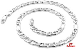New Italy Solid Figaro Marina .925 Anti-Tarnish Silver Chain Necklace- 6... - £42.82 GBP