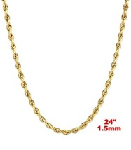 Italy 14k yellow gold layer on 925 Sterling Silver Classic Rope Chain- 1... - $25.99