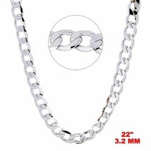 New Italian 14k White gold Rhodium on 925 Sterling Silver Curb Chain- 3.... - $19.43