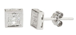 14k white gold layer Square style micro pave CZ 925 Sterling Silver Stud... - $12.16